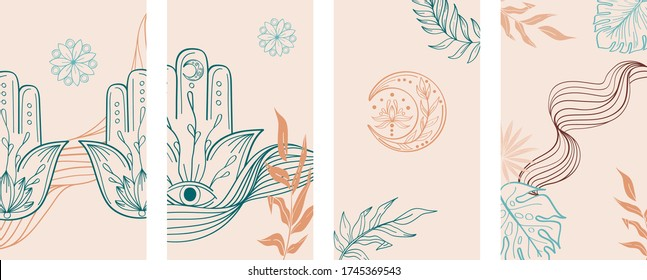 Beige and green Social Media Stories Layout Set. Abstract hand drawn set of linear template in yoga style for womenly profile, social media, mobile app. Abstract trendy yoga stories hamsa, om, moon