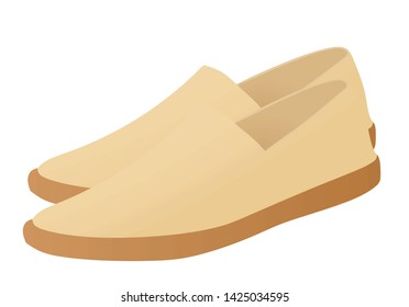 Beige loafer shoes. vector illustration