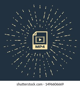 Beige MP4 file document. Download mp4 button icon isolated on dark blue background. MP4 file symbol. Abstract circle random dots. Vector Illustration