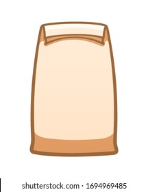 Beige paper lunch bag isolated illustration. White background, vector.