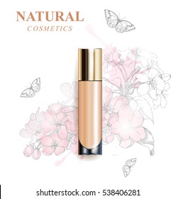 Beige realistic tube mock-up for cream dispenser, lotion, gel, medicine cream, tone cream, ointment, concealer, salve. Cosmetic vial with design label. Flowers  background.