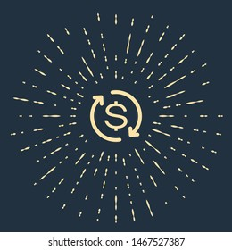 Beige Return of investment icon isolated on dark blue background. Money convert icon. Refund sign. Dollar converter concept. Abstract circle random dots. Vector Illustration