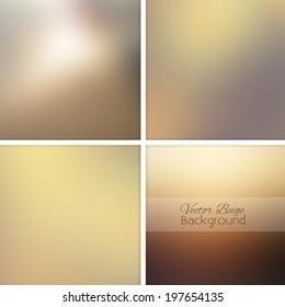 Beige sand abstract blurred background set. Vector illustration.