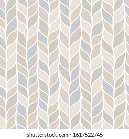 Beige seamless pattern of braids, endless texture, stylized sweater fabric. Texture for web, print, wallpaper, fall winter fashion, textile design, website background, holiday home decor