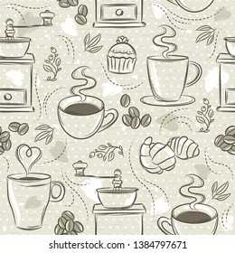 Beige seamless patterns with coffee set, cup, heart, coffee mill and text.Background with coffee set. Ideal for printing onto fabric and paper or scrap booking.