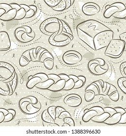 Beige seamless patterns with different breads, Easter bread, pretzel, bap and croissant. Ideal for printing onto fabric and paper or scrap booking.