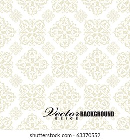 Beige seamless wallpaper pattern design in brown and white