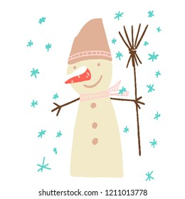 beige snowman with red carrot covered with snow. brown bucket, branch hands, broom, pink scarf, blue snowflakes