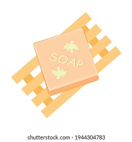 Beige soap in a wooden soap dish, eco friendly hygienic hand wash, zero waste items. Organic product for body wash on white background. Trendy hand-drawn cartoon vector flat illustration.