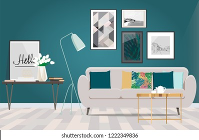 Beige sofa in a room with white floor and turquoise wall