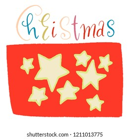 beige stars of different size on red background. the word Christmas