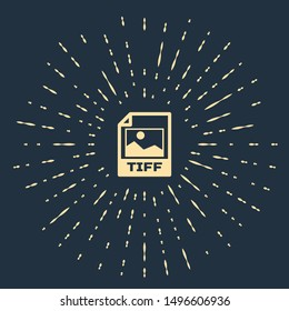 Beige TIFF file document. Download tiff button icon isolated on dark blue background. TIFF file symbol. Abstract circle random dots. Vector Illustration