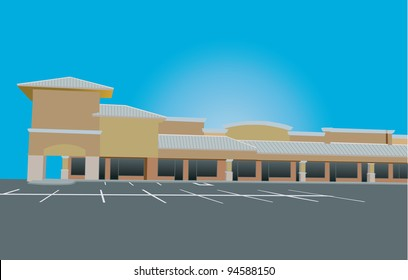 beige toned retail strip mall with tin roof