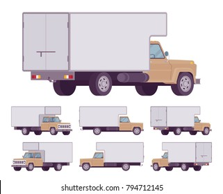 Beige truck set. Large, heavy motor vehicle for transporting goods, powerful car for long distance travel. Vector flat style cartoon illustration isolated on white background, different positions