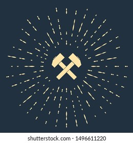 Beige Two crossed hammers icon isolated on dark blue background. Tool for repair. Abstract circle random dots. Vector Illustration