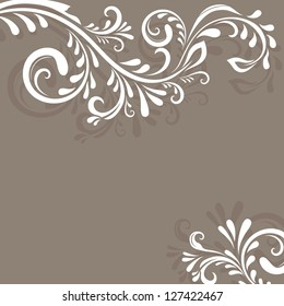 Beige vector background with floral ornament and copy space.