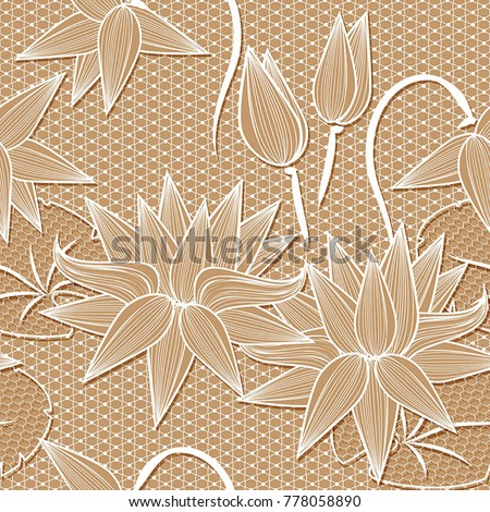 Beige white lotus flowers lace design stock vector royalty free beige white lotus flowers lace design background ornamental band abstract lace ribbon seamless pattern mightylinksfo