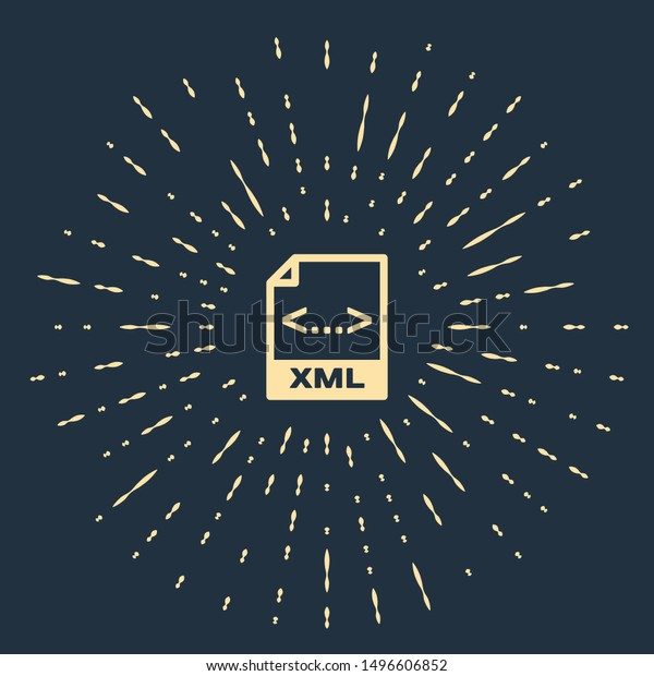 Beige XML file document. Download xml button icon isolated on dark blue background. XML file symbol. Abstract circle random dots. Vector Illustration