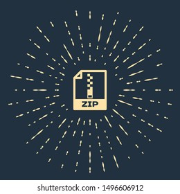 Beige ZIP file document. Download zip button icon isolated on dark blue background. ZIP file symbol. Abstract circle random dots. Vector Illustration