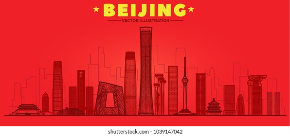 Beijing, (China) city line skyline vector illustration red background. Business travel and tourism concept with modern buildings. Image for presentation, banner, web site.