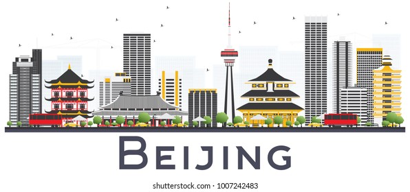 Beijing China City Skyline with Gray Buildings Isolated on White Background. Vector Illustration. Business Travel and Tourism Concept with Modern Buildings. Beijing Cityscape with Landmarks.
