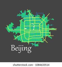Beijing city map flat illustration
