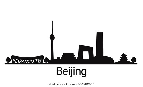 Beijing city outline skyline. All Beijing buildings - customizable objects, so you can simple change skyline composition. Minimal design.