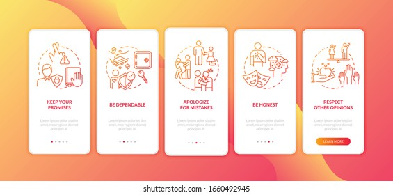 Being respectful friend onboarding mobile app page screen with concepts. Helping and understanding friends walkthrough 5 steps graphic instructions. UI vector template with RGB color illustrations