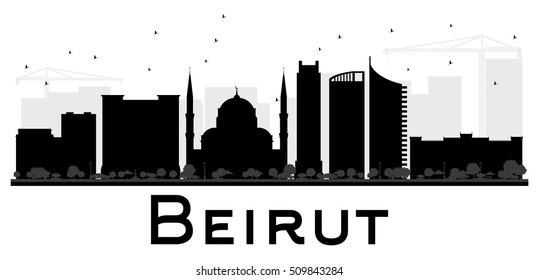 Beirut City skyline black and white silhouette. Vector illustration. Simple flat concept for tourism presentation, banner, placard or web site. Business travel concept. Cityscape with landmarks