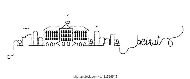 Beirut City Skyline Doodle Sign