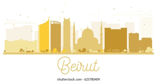 Beirut City skyline golden silhouette. Vector illustration. Simple flat concept for tourism presentation, banner, placard or web site. Business travel concept. Cityscape with landmarks