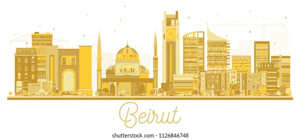 Beirut Lebanon City Skyline Golden Silhouette. Vector Illustration. Business Travel and Tourism Concept with Modern Architecture. Beirut Cityscape with Landmarks.