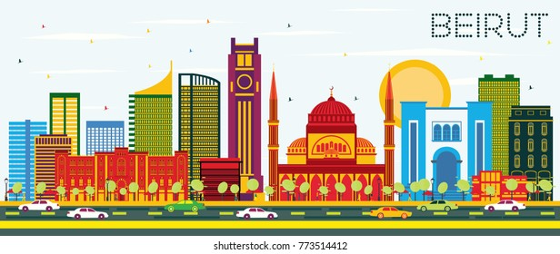 Beirut Lebanon Skyline with Color Buildings and Blue Sky. Vector Illustration. Business Travel and Tourism Concept with Modern Architecture. Beirut Cityscape with Landmarks.