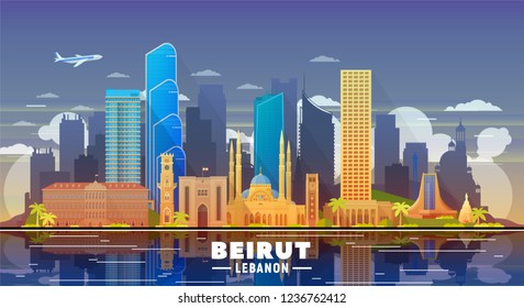 Beirut Lebanon skyline with panorama in evening sky background. Vector Illustration. Business travel and tourism concept with modern buildings. Image for banner or web site.