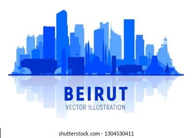 Beirut Lebanon skyline silhouette at white background. Vector Illustration. Business travel and tourism concept with modern buildings. Image for banner or web site.