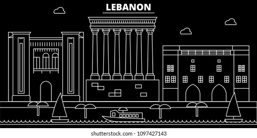 Beirut silhouette skyline. Lebanon - Beirut vector city, lebanese linear architecture, buildings. Beirut travel illustration, outline landmarks. Lebanon flat icon, lebanese line banner