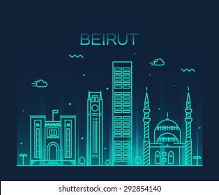 Beirut skyline, detailed silhouette. Trendy vector illustration, linear style.