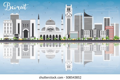 Beirut Skyline with Gray Buildings, Blue Sky and Reflections. Vector Illustration. Business Travel and Tourism Concept with Modern Architecture. Image for Presentation Banner Placard and Web Site.