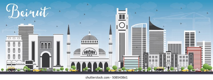 Beirut Skyline with Gray Buildings and Blue Sky. Vector Illustration. Business Travel and Tourism Concept with Modern Architecture. Image for Presentation Banner Placard and Web Site.