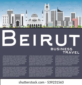 Beirut Skyline with Gray Buildings, Blue Sky and Copy Space. Vector Illustration. Business Travel and Tourism Concept with Modern Architecture. Image for Presentation Banner Placard and Web Site