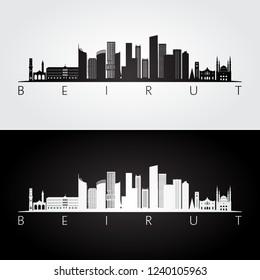 Beirut skyline and landmarks silhouette, black and white design, vector illustration.