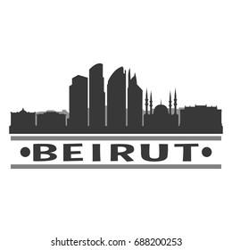 Beirut Skyline Silhouette City Vector Design Art