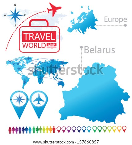 Belarus Map Europe Modern Globe Travel Stock Vector Royalty Free