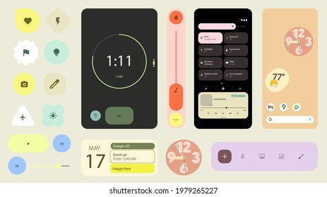 Belarus, Minsk - May 25, 2021 : A set of user interface of the new Android operating system 12. Modern user interface elements. A set of simple icons. Vector illustration