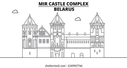 Belarus - Mir Castle Complex travel famous landmark skyline, panorama vector. Belarus - Mir Castle Complex linear illustration