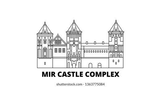 Belarus, Mir line travel skyline set. Belarus, Mir outline city vector illustration, symbol, travel sights, landmarks.