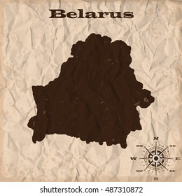 Belarus old map with grunge and crumpled paper. Vector illustration