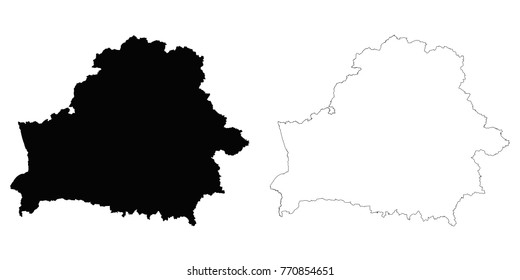 Belarus outline map - detailed isolated vector country border contour maps of Belarus on white background