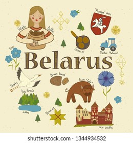 Belarus sights illustration. Vector set of belarussian landmarks and cultural and natural features. Country alphabet.