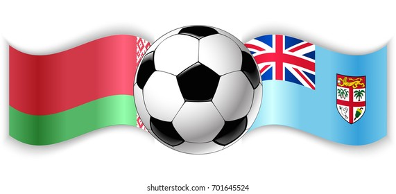 Belarusian and Fijian wavy flags with football ball. Belarus combined with Fiji isolated on white. Football match or international sport competition concept.
